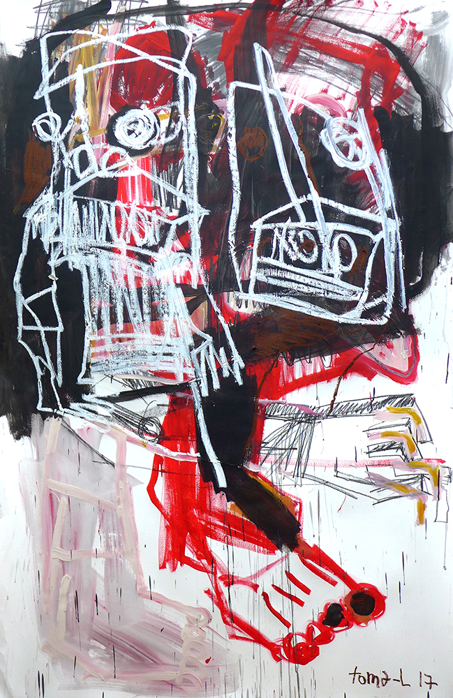 Red skin and white trash Technique mixte sur papier marouflé sur toile.