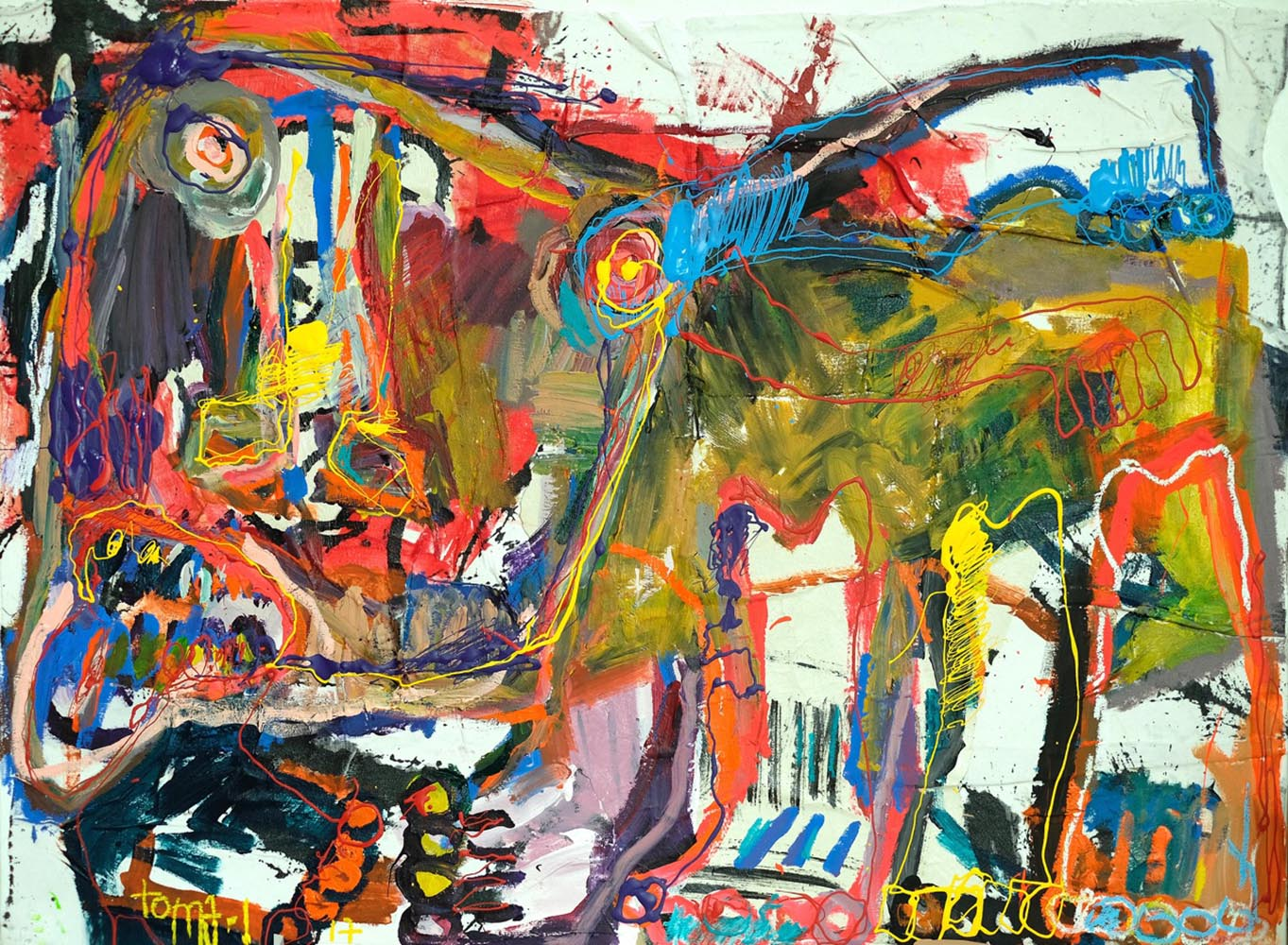 Bad dog and color Technique mixte sur toile.