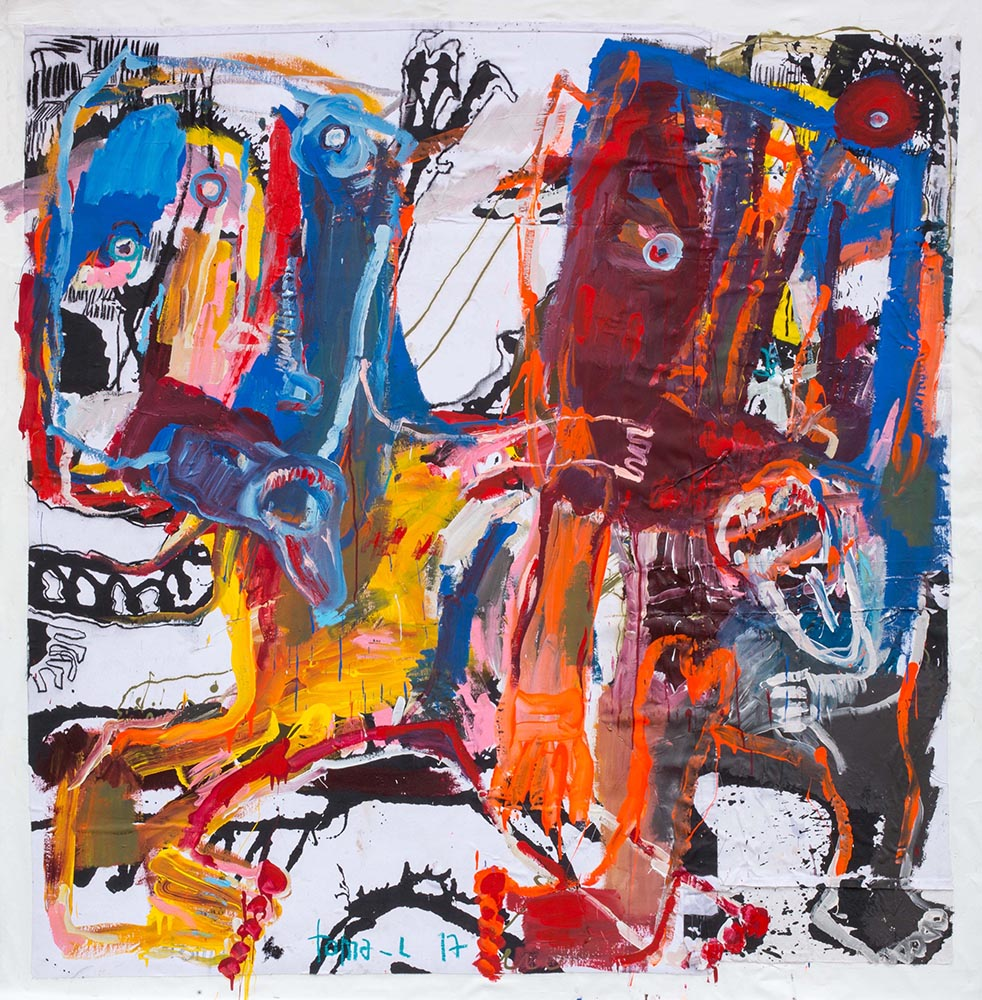 Bad boys and trash color Technique mixte sur toile