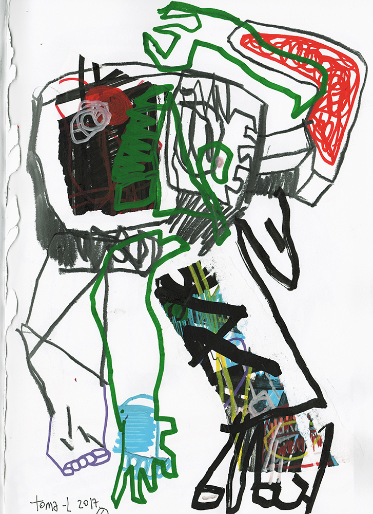 Drawing and paper boy Technique mixte sur papier